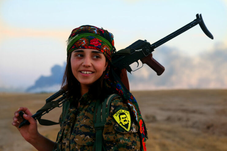 People Of Different Cultures Kurdish YPJ fighter.