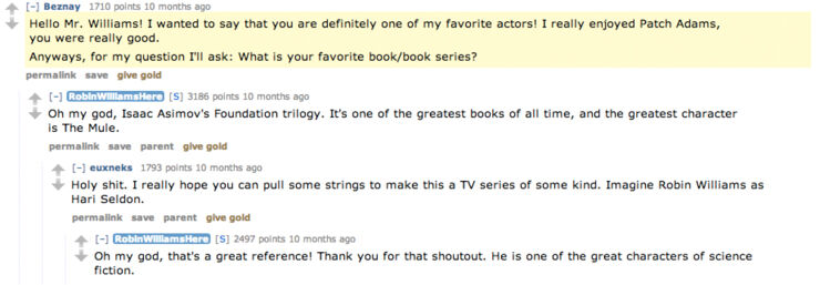 Revisiting The Best Of Robin Williams' Awesome Reddit AMA