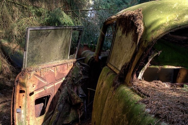 the chatillon forest car graveyard in belgium - 01.