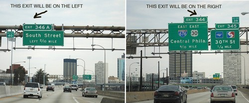 Tell which side an exit ramp will be on (25 of 50)