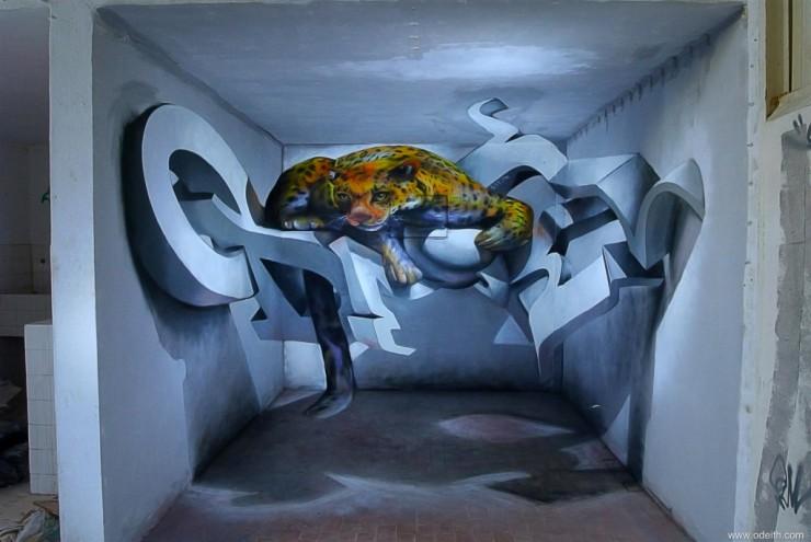 Sergio Odeith anamorphic 3D Graffiti Letters leopard standing inside room Lisboa Portugal.
