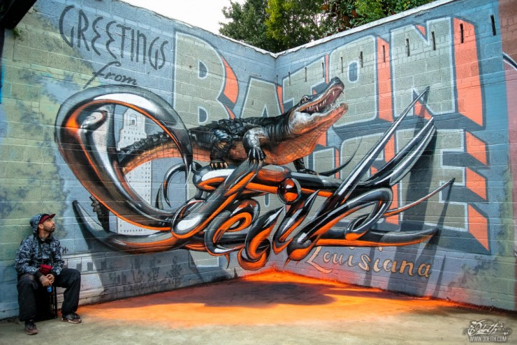 Sergio Odeith anamorphic 3D Graffiti Letters Greetings from Baton Rouge.