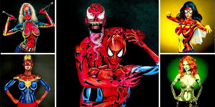 Body Painted Superheroes.