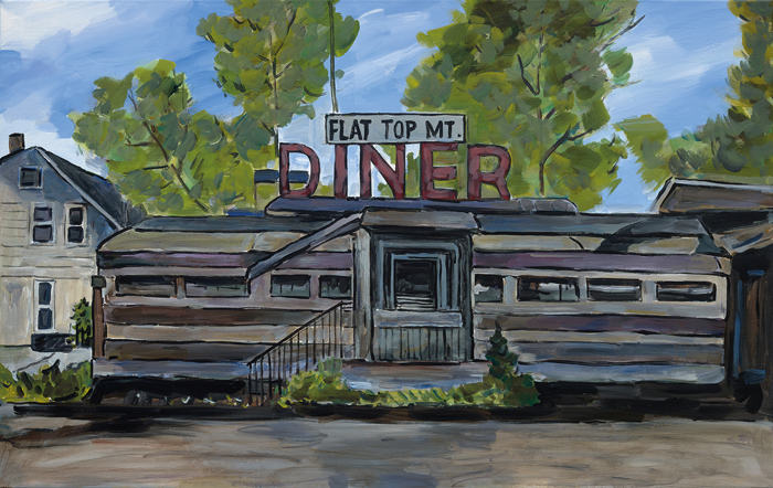 Bob Dylan_The Beaten Path_Halcyon Gallery_Flat Top Mt. Diner, Tennessee, 2015–2016. Acrylic on canvas, 76.2 x 121.9 cm. Signed