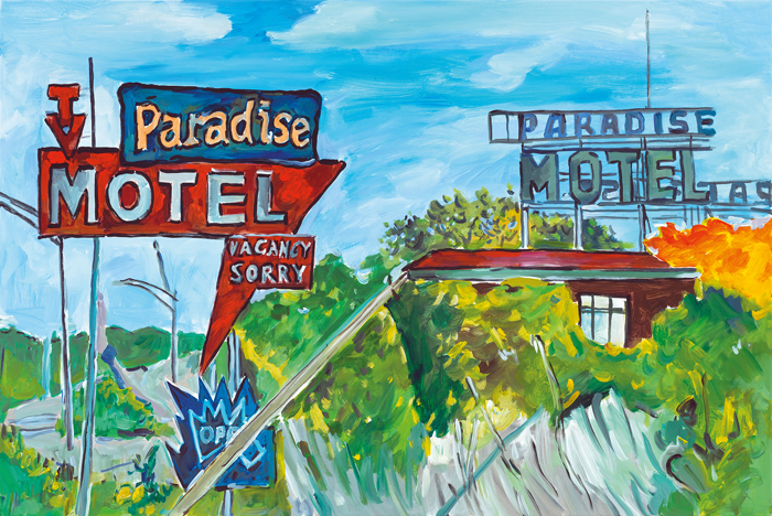 Bob Dylan_The Beaten Path_Halcyon Gallery_Florida Country, 2015–2016. Acrylic on canvas, 81.3 x 121.9 cm. Signed