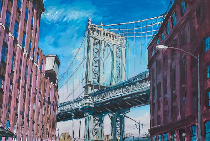 Manhattan-Bridge,-Downtown-New-York,-2015–2016.-Watercolour-on-paper,-89.2-x-121