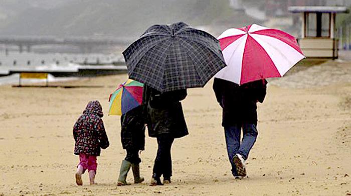 wet beach summer holiday.